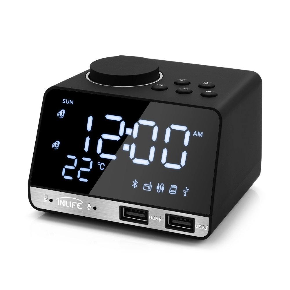 Digital Alarm Clock Radio Thermometer Clock LED Alarm Clock Bluetooth Speaker, Alarm Clock with USB Charging, Snooze, Portable Clock, AUX TF Card Play