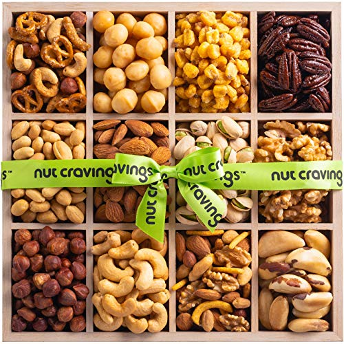 Holiday Mixed Nuts Wood Gift Box - Gourmet 12 Section of Nuts, Pretzel Pub Mix & Other Salty, Savory Snacks for Mother's Day, Christmas, Holiday or Corporate - Large Prime Variety in Sectional Tray