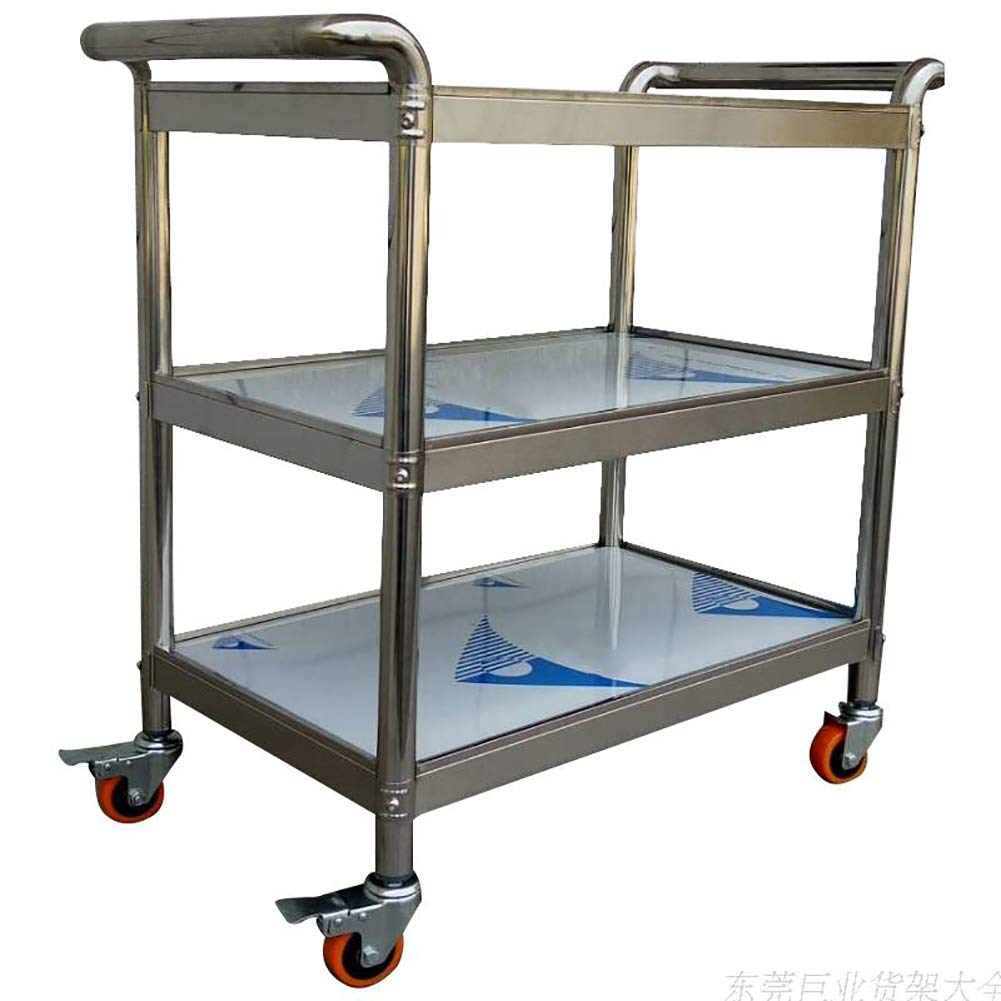 Kitchen Trolley, Stainless Steel Three-Story Hotel Meal Wheel Mute, Assembled Household Rack Storage Cabinet to Put A Variety of Things