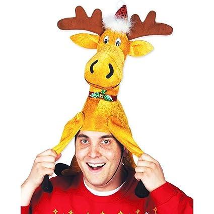Amazon.com  Beistle 20705 1 Piece Plush Christmas Moose Hat 04cf458a571d