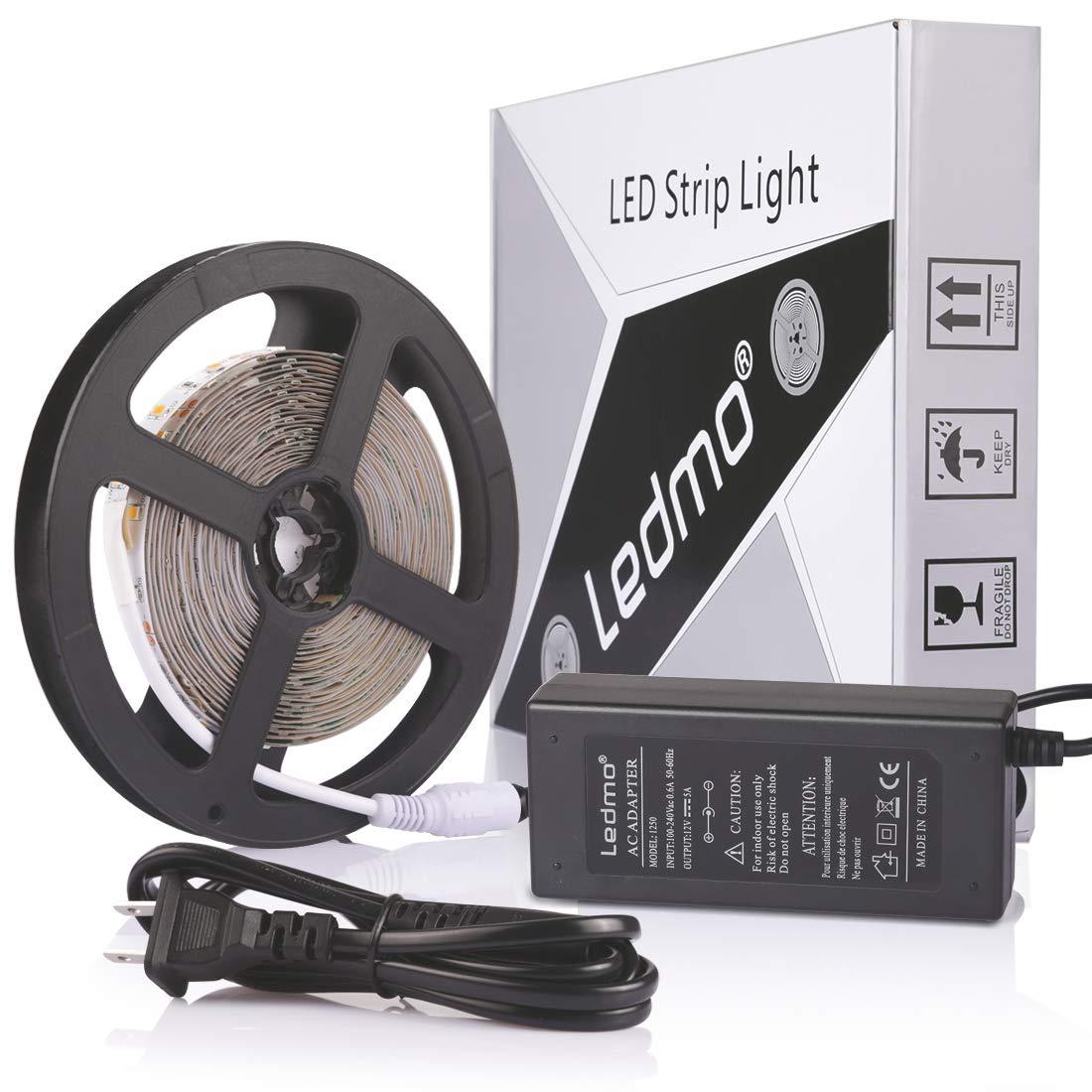 LEDMO LED Strip Lights, Upgraded 300Leds 16.4ft Warm White 3000K LED Light Strip+12V 5A Power Supply