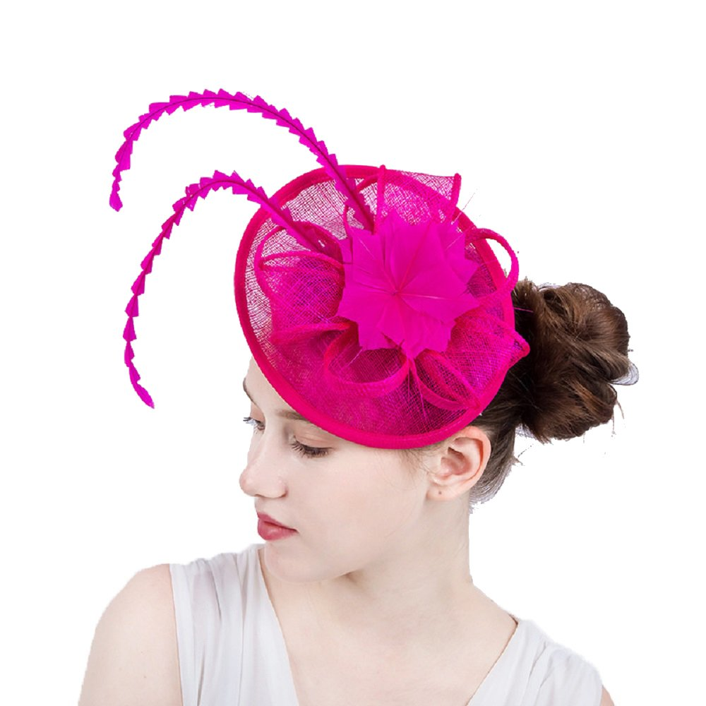 YONQUIL 17 Color Kentucky Fascinators With Feather Derby Hat Event Occasion Bridal Wedding Hair accessories (Hot Pink)