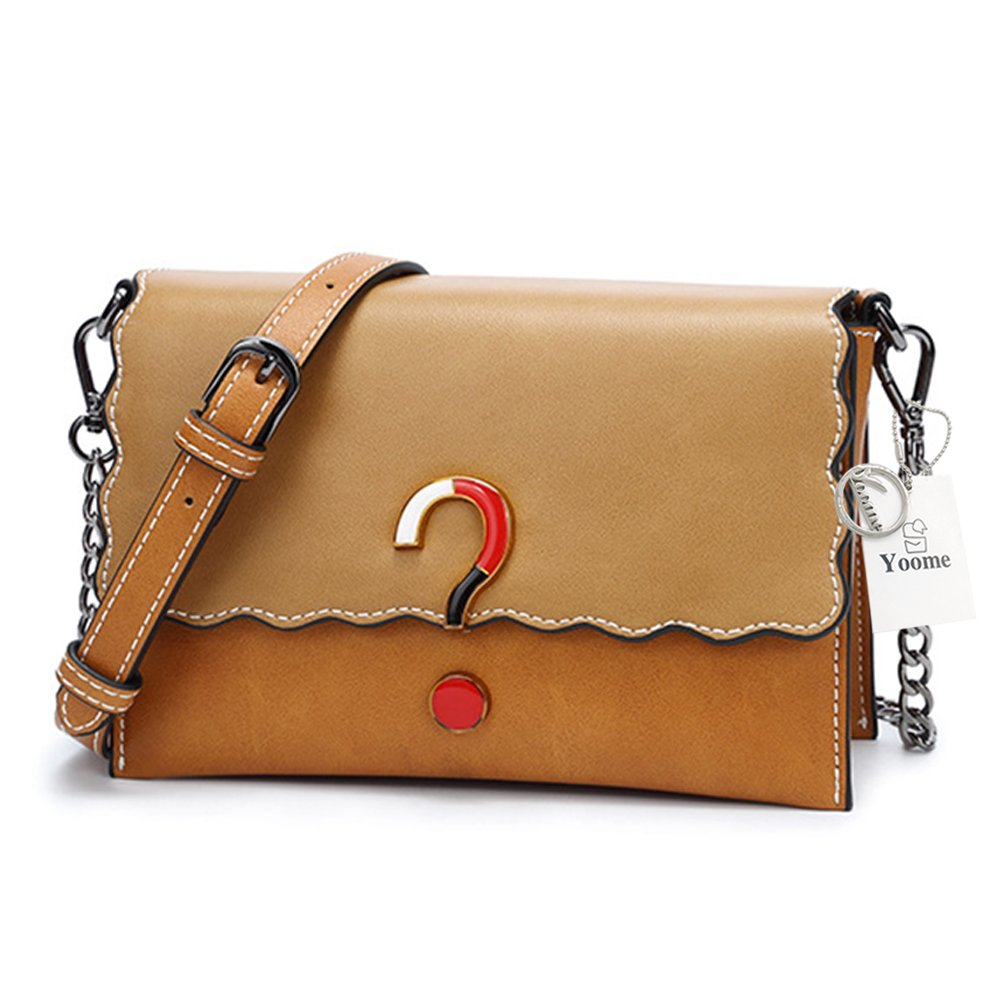 Yoome Matte Leather Small Crossbody Bag Flap Chain Bag for Women, Fashion Question Mark Decoration & Wave Shape Edge - Brown