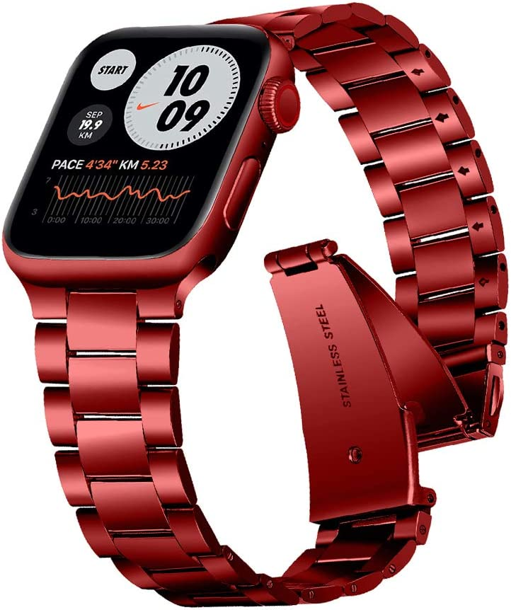 Joyozy Upgraded Metal Bands Compatible with Apple Watch 38mm 40mm, Top Stainless Steel iWatch Bands for Series 6/5/4/3/2/1/SE- Red, 38mm 40mm