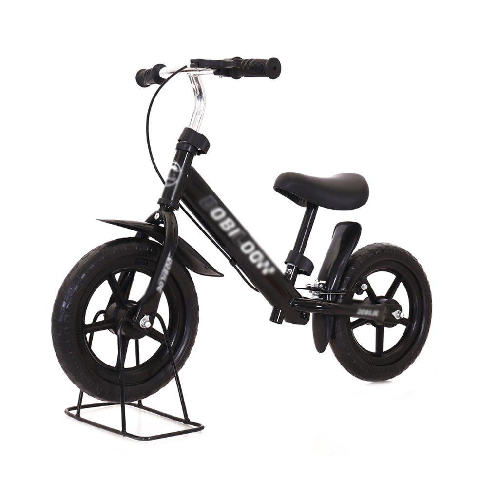 バランスの車ペダルがない子供のスクーターを膨らませる必要はないバギー子供ダブルホイール自転車子供スクーターブレーキ付き2ラウンドウォーカー12インチ2-6歳 B07F57NYY6 Black Black