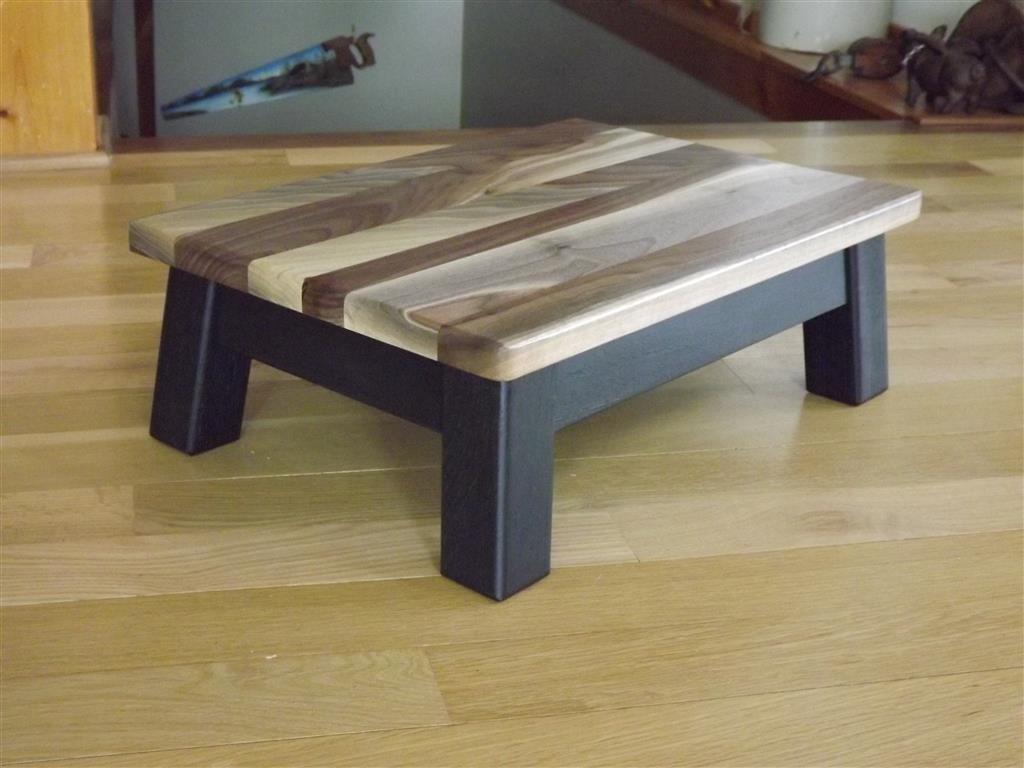modern walnut top wood step stool foot stool low riser 5.5