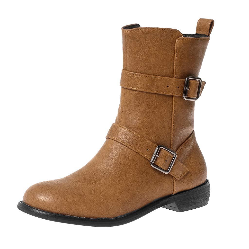 Yezijin Fashion Pure Color Round Toe Zipper Boots Square Heels Vintage Women Boots Under 30 by Yezijin
