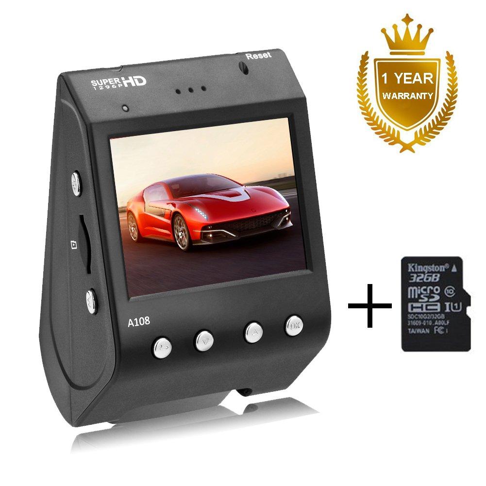 Senwow Mini Cámara de Coche Dash Cam Súper Full HD 1296P Gran Angulo 170° Pantalla 2' LCD Vídeo Grabadora DVR ADAS LDWS FCWS G-Sensor Grabación en bucle Visión Nocturna WDR (Con tarjeta SD de 32GB) A108+32G