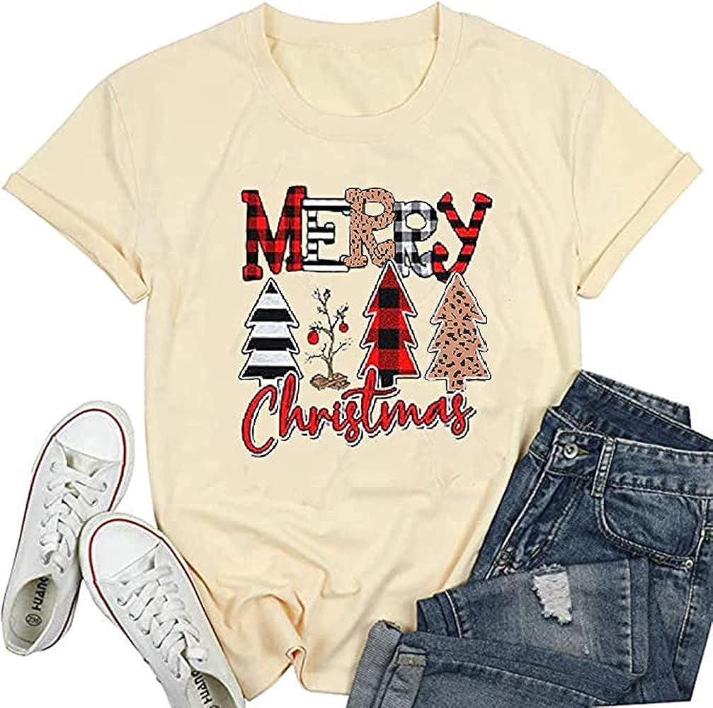 Earlymemb Womens Merry Christmas Tree Leopard Plaid Printed T-Shirt Short Sleeve T-Shirts Tops