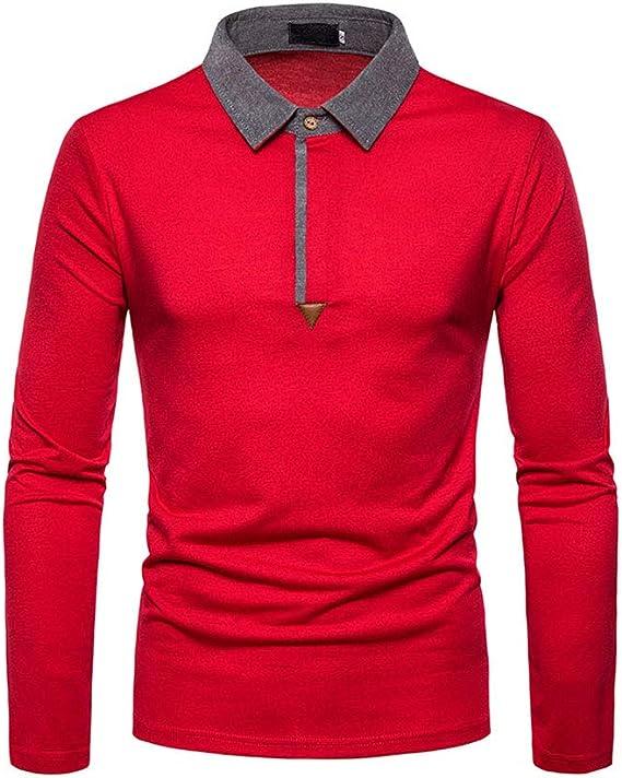 LXMT Camisa de Manga Larga Hombres del Polo sólido Camisa de ...
