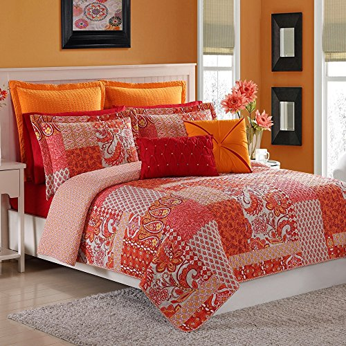 Poppies Quilt Fabric (Fiesta Marchia Reversible Quilt Set with 2 Pillow Shams, Full/Queen, Poppy Red)