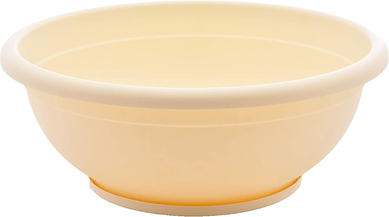 TABOR TOOLS VEN307 Plastic Planter Bowl, Garden Bowl with Attached Drainage Tray, for Indoor and Outdoor Use, Round Ø 12 Inch (Color: Ivory White)