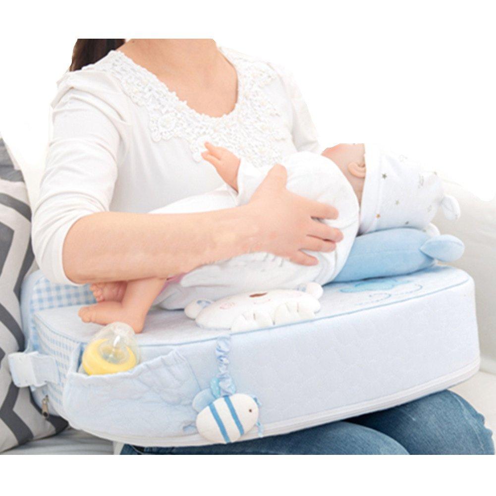 M'Baby Nursing Pillow Breastfeeding Baby Pillow, Blue Bear