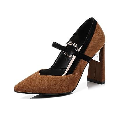 bdb4ff0c2c3487 OALEEN Escarpins Sexy Femme Bout Pointu Effet Daim Talon Haut Bloc  Chaussures Soirée Mariage Marron 46