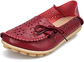 SHIBEVER Women's Leather Loafers Moccasins Wild Driving Casual Flats Oxfords Breathable Shoes