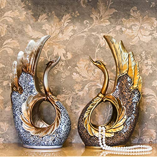 Home Decoration, Hand-Painted Resin Crafts swan Ornaments Sculpture Living Room Decorations Nordic Decorative Wine Cabinet Home (Color : A+b) by None (Image #8)