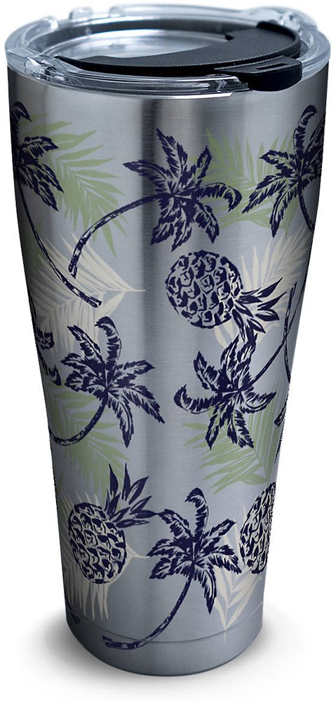 Tervis 1277998 Tropical Getaway Stainless Steel Tumbler with Clear and Black Hammer Lid 30oz, Silver