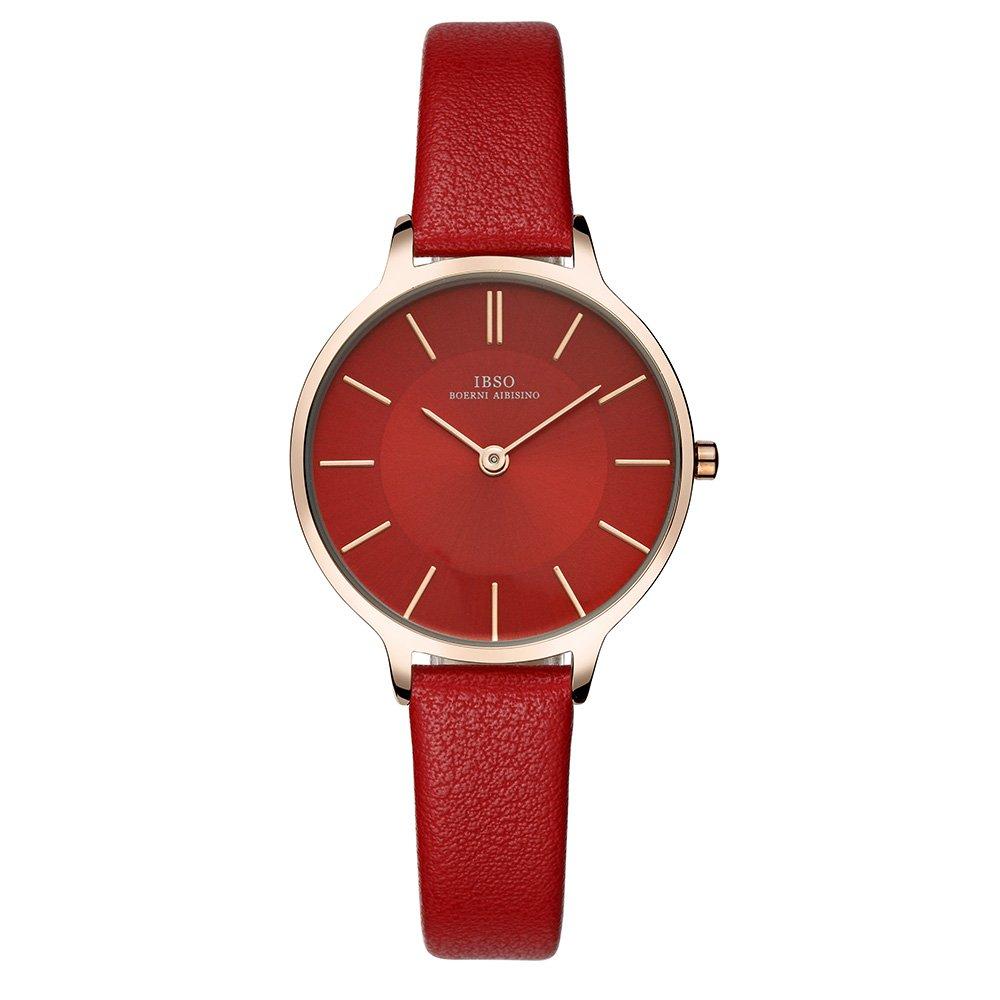 IBSO Women Fashion Simple Watch Ultra-Thin Retro Quartz Analog Leather Strap Ladies Wristwatch (Red)