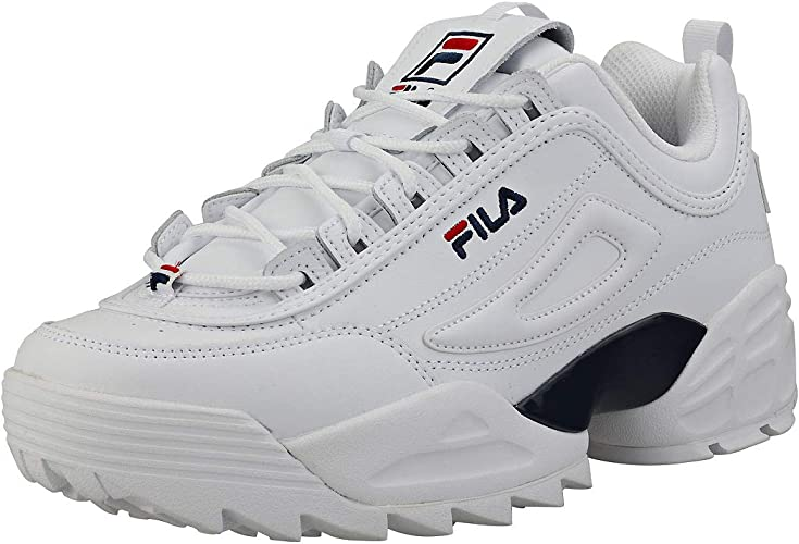 FILA Disruptor II Men/'s Premium Leather Sneakers White//Fila Navy//Red Shoes