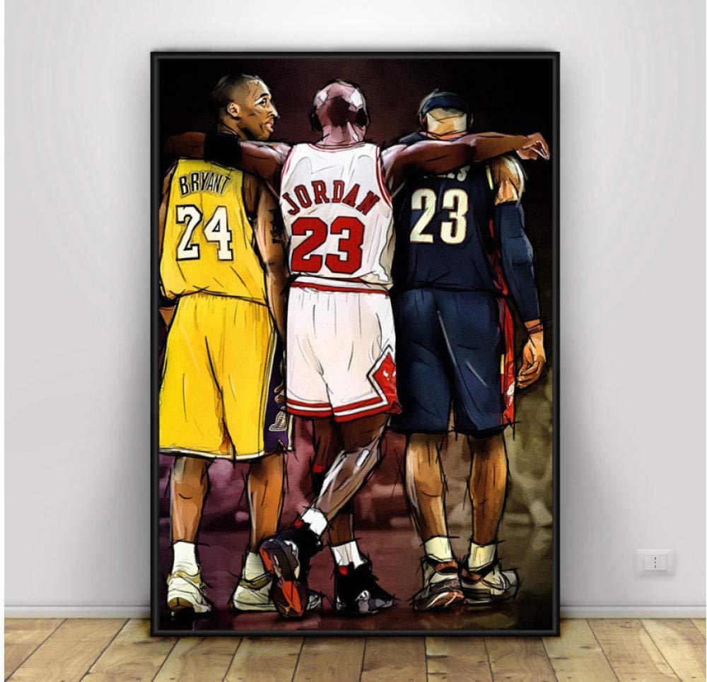 xtszlfj Kobe Bryant Michael Jordan Lebron James Basketball Art Canvas Poster Prints Home Wall Decor Painting 60x80cm No Frame