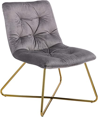 Modern Velvet Accent Chair for Living Room, Retro Mid Century Leisure Chair for Bedroom, Crossed Gold Metal Legs, Smoke Grey