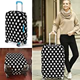 yazi Fashion Luggage Bag Washable Dust Proof Travel Suitcase Protector Cover Black White Polka Dots M 22-24 Inch