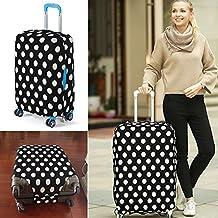 yazi Fashion Luggage Bag Washable Dust Proof Travel Suitcase Protector Cover Black White Polka Dots M 22-24 Inch