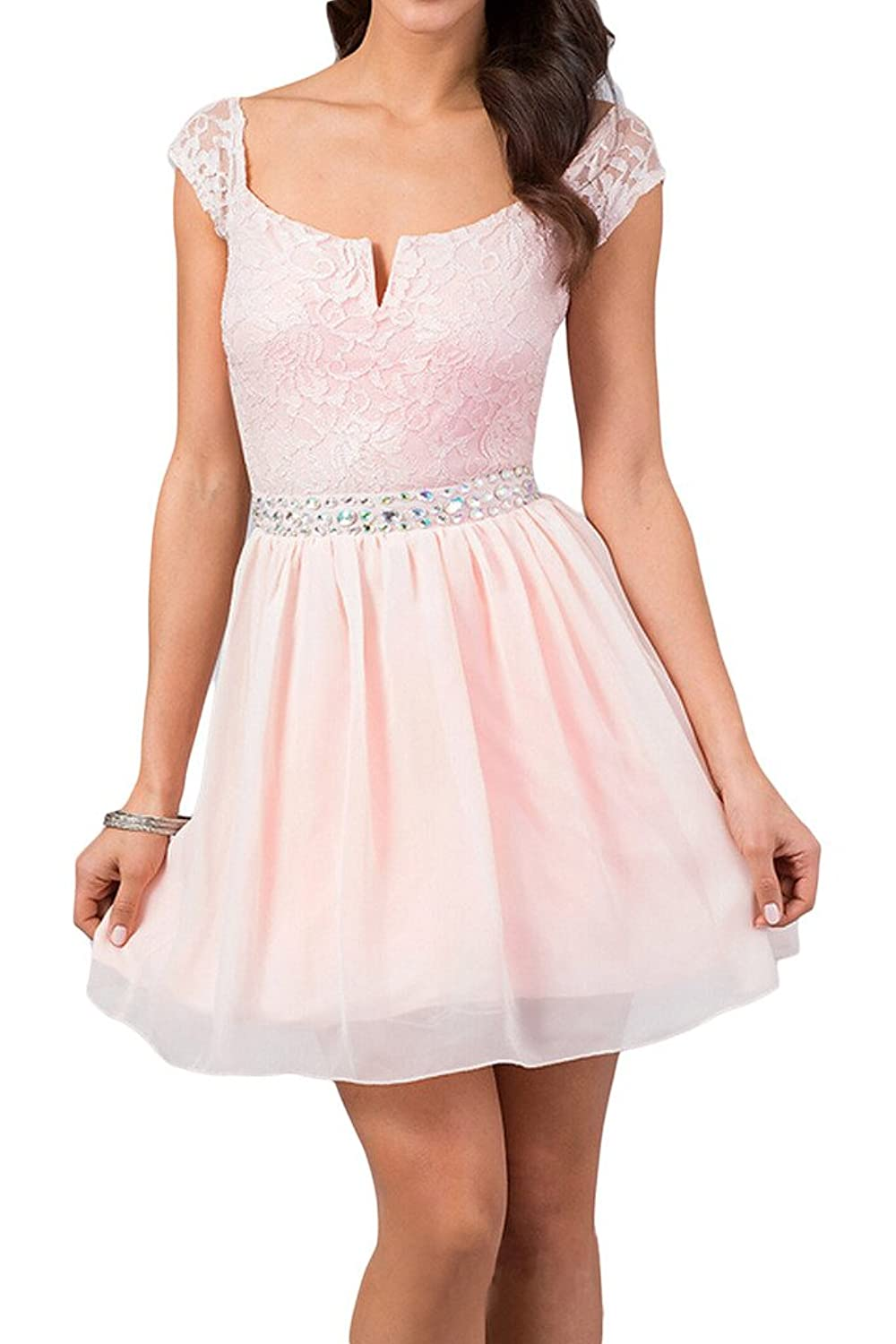 Gorgeous Bridal Mini Lace Sparkling Rhinestones Prom Party Cocktail Dresses