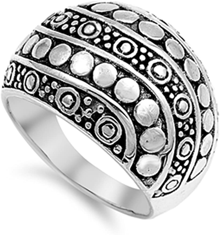 Sterling Silver Bali Jewelry Dome Filigree Women/'s Engagement Wedding Ring