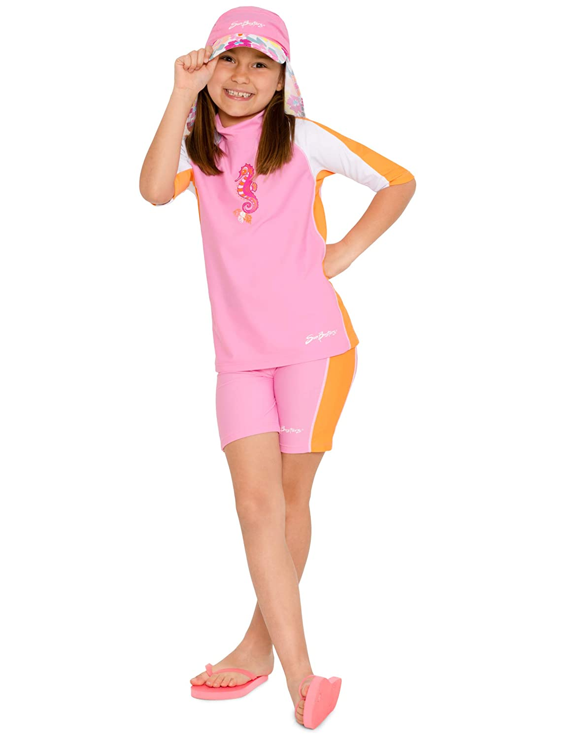 SunBusters Girls Two-Piece Short Sleeve Swimsuit Set UPF 50 Sun Protection
