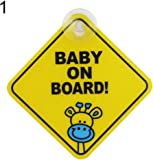 kangql Baby on Board Car Warning Safety Suction Cup Sticker Waterproof Notice Board - XP01