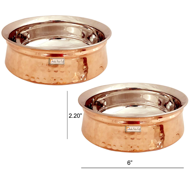 Prisha India クラフトステンレススチール 銅製ハンディボウル お皿 サーブウェア テーブルウェア用 | 容量500ml 2なし | 2個セット   B07N7KFTRK