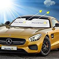 Windshield Sun Shade UV Protection for Auto Interior, Sun Shade Deflects 99% UV Ray Light, Active Heat Shield, Quick, Easy, Fold-Unfold, Stays Upright, Compact, Lightweight (63x34) Free Gift Included