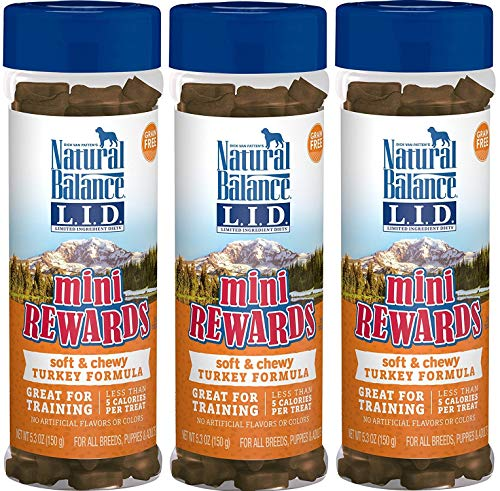 Natural Balance Limited Ingredient Diets Mini Rewards Soft and Chewy Dog Treats (Turkey, 3 Pack / 5.3-Ounces Each)
