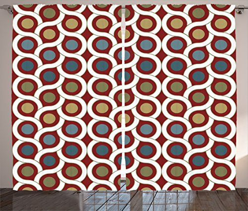 Ambesonne House Decor Collection, Pattern with Dots and Circle Decorative Symmetric Geometric Curve Line Image, Living Room Bedroom Curtain 2 Panels Set, 108 X 84 Inches, Burgundy Navy Olive - Circle 108