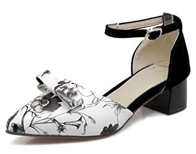 f5cfb9793c3 Mofri Women s Sexy Floral Printed Bow Pointed Toe Buckled Ankle Strap  Medium Block Heel Sandals (