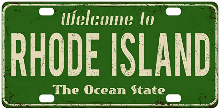 Rhode Island State Flag License Plate Tag Vanity Front Aluminum 6 By 12 Inch