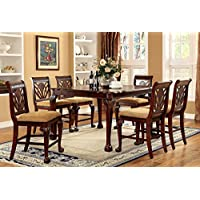 247SHOPATHOME IDF-3185PT-7PC Dining-Room, 7-Piece Set, Brown
