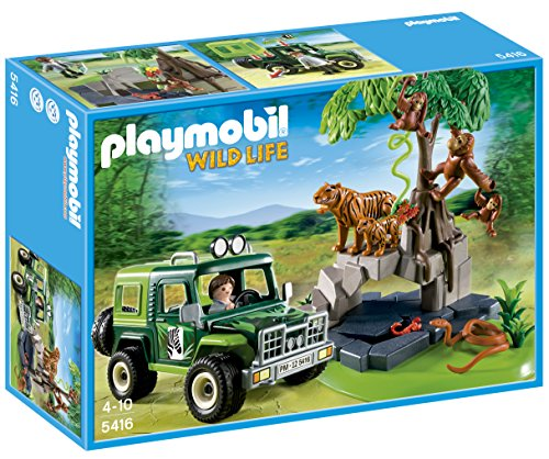 PLAYMOBIL Jungle Animals with Researcher and Off-Road Vehicle Jungle Train Set