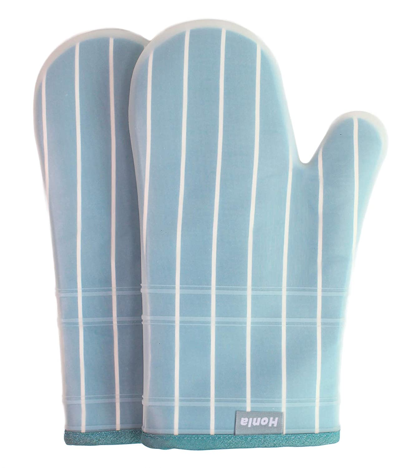 Honla Silicone Oven Mitts with Stripe Fabric and Terry Cloths Lining,Heat Resistant to 500 F,1 Pair of Kitchen Oven Gloves for Cooking,Baking,Grilling,Barbecue Potholders,Teal