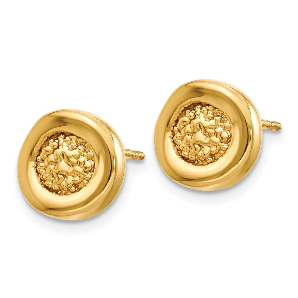 FB Jewels Solid Leslies 14K Yellow Gold Polished /& Textured Post Earrings