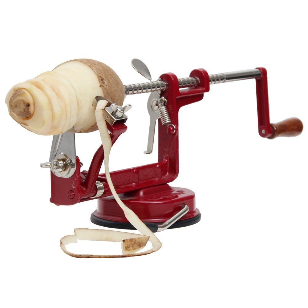 Johnny Apple Peeler with Suction Base VKP1010 by VICTORIO + (1) additional Coring &Slicing Blade VKP1010-2 + (2) additional Peeling Knifes VKP1010-1 by Victorio Kitchen Products