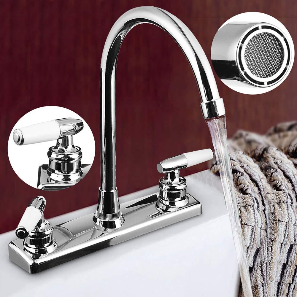 Argent/é pour camping-car robinet mitigeur pour lavabo chaud et froid Robinet de cuisine P12cheng avec double poign/ée maison