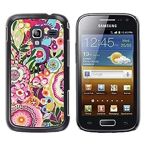 TopCaseStore / la caja del caucho duro de la cubierta de protección de la piel - Floral Pink Pattern Girly - Samsung Galaxy Ace 2 I8160 Ace II X S7560M