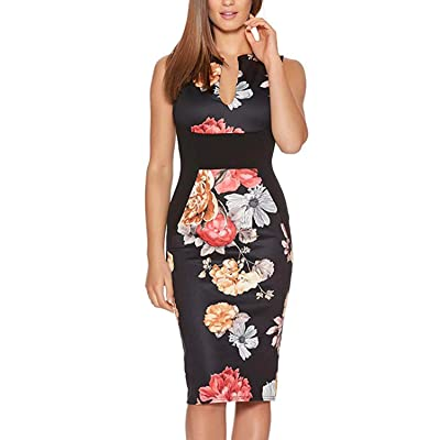 Fantaist Women's Sleeveless Deep V Neck Floral Print Cocktail Party Pencil Dress at Women's Clothing store
