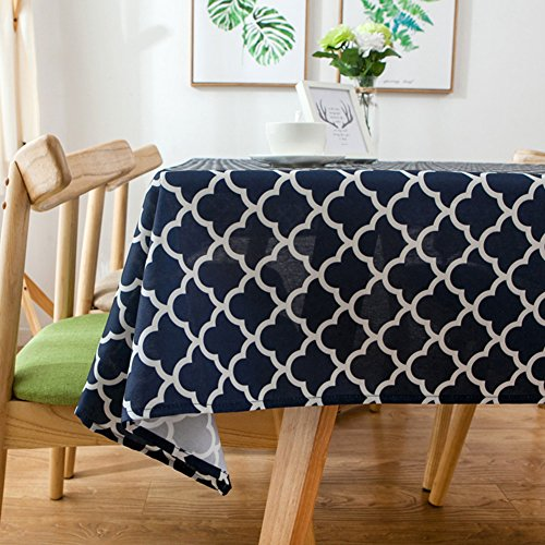 ColorBird Elegant Trellis Tablecloth Waterproof Spillproof Polyester Fabric Table Cover for Kitchen Dinning Tabletop Decoration (Rectangle/Oblong, 60 x 84 Inch, Navy Blue) - Trellis Fabric