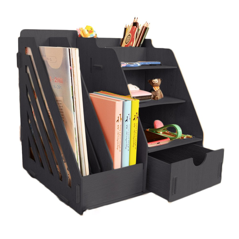 MineDecor Wood Desk Organizer Drawer Trays Office Desktop Organizers File Holders Office Supplies 4 Tier 6 Compartments Black