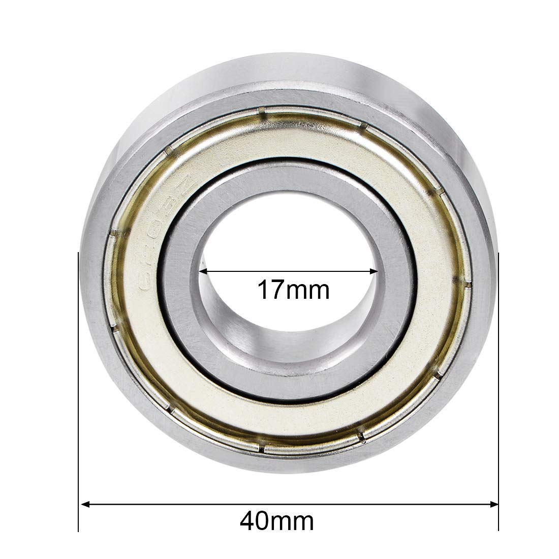 Lheng 4Pcs 6203ZZ Deep Groove Ball Bearing 17mmx40mmx12mm Double Shielded Chrome Steel Bearings