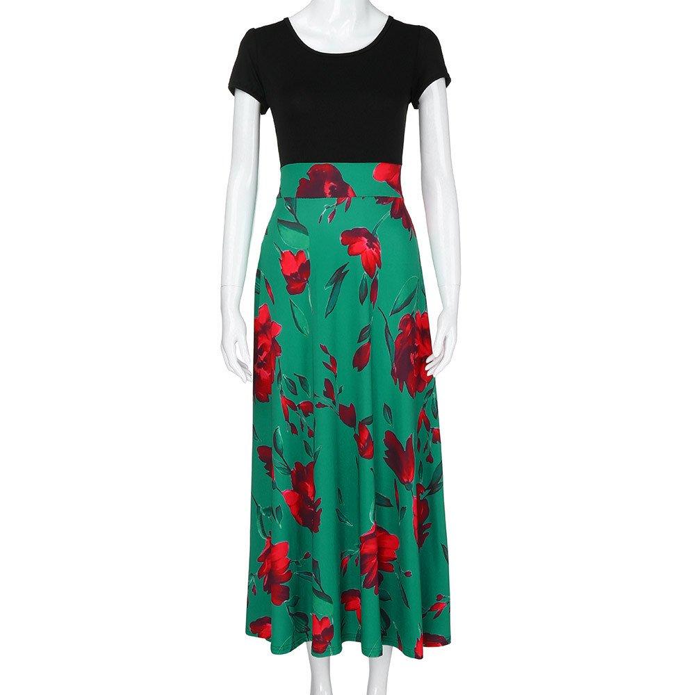 Rambling Elegant Womens Maxi Dress Floral Printed Summer Short Sleeves Casual Tunic Long Maxi Loose Dress
