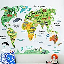 World Map Wall Decal Animals Map Wall Art Stickers Kids Learning Wall Decor Mural Map 95 x 73cm